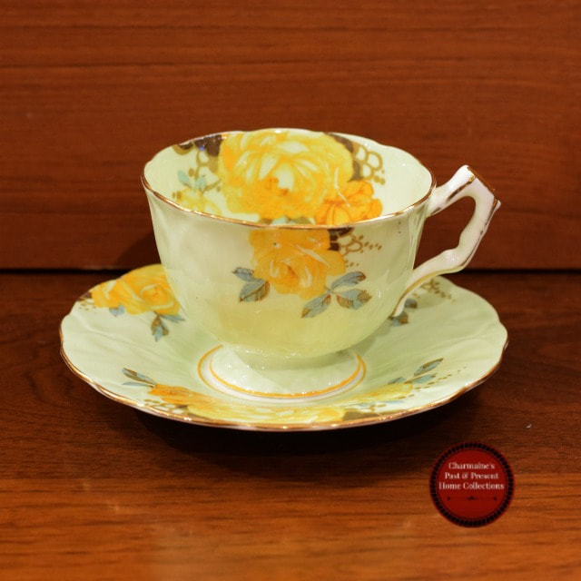 SWEET RELIEF PATTERN  VINTAGE AYNSLEY CUP AND SAUCER...$30.00