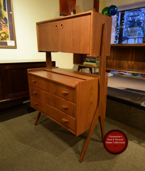 SOLD!! AMAZING DANISH MODERN TEAK SECRETAIRE/CABINET ATTRIBUTED TO POUL VOLTHER...$1349.00