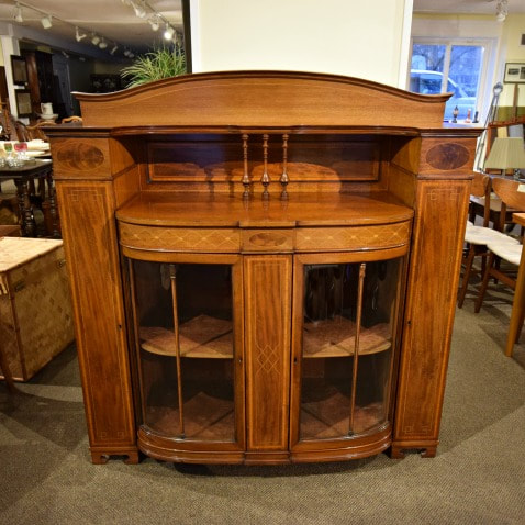 SOLD!! SUPERB ANTIQUE INLAID MAHOGANY CABINET WITH CURVED GLASS DOORS...$699.00