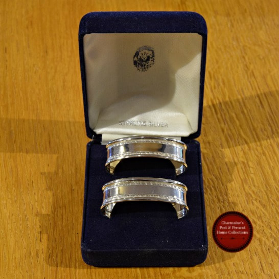 LOVELY BOXED STERLING NAPKIN RINGS BY ARI D. NORMAN, LONDON 1997...$70.00
