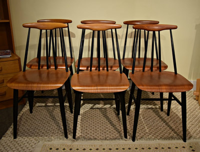 "AWESOME SET OF 6 MID-CENTURY MODERN TEAK ""PIA"" CHAIRS BY SANDVICK NORWAY...$849.00 small repair on one"