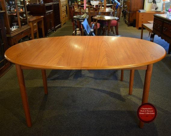 SOLD!! LOVELY MID-CENTURY MODERN TEAK TABLE WITH 2 LEAVES...$699.00
