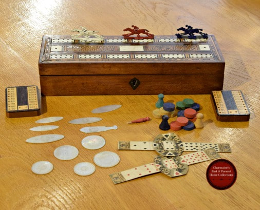 AMAZING ANTIQUE INLAID GAMES BOX WITH COUNTERS & MORE...$199.00