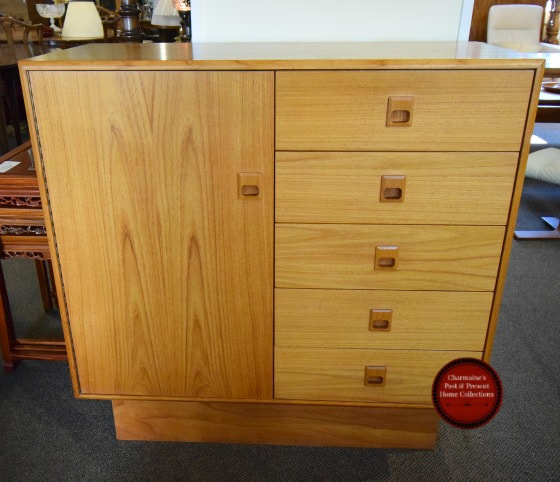 HANDSOME MID-CENTURY MODERN TEAK CUPBOARD CHEST...$499.00!
