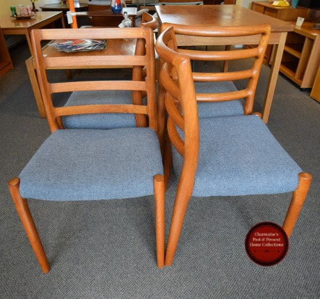 SOLD!! GREAT SET OF 4 DANISH MODERN CHAIRS BY  NIELS MOLLER...$1199.00