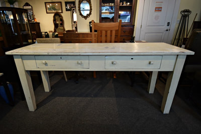 AWESOME FARMHOUSE PAINTED WORK TABLE. PERFECT FOR A KITCHEN ISLAND...$399.00
