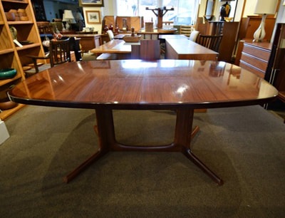 SOLD!! OUTSTANDING DANISH MODERN ROSEWOOD TABLE WITH 2 LARGE LEAVES   BY NIELS OTTO MOLLER FOR GUDME...$1699.00