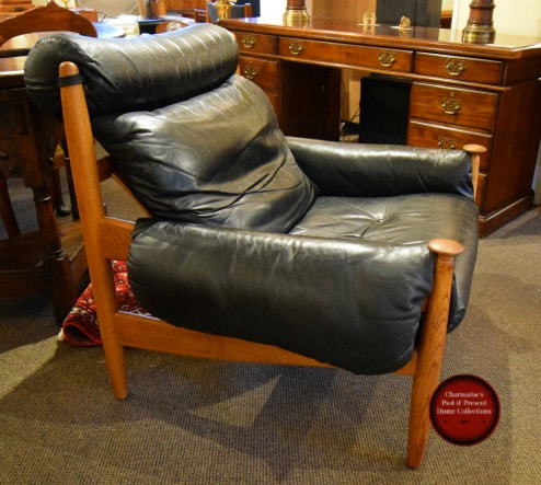 RARE OAK & LEATHER MID-CENTURY MODERN EASYCHAIR BY ERIC MERTHEN FOR IRE MOBLER SWEDEN...$2100.00
