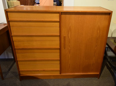 HANDSOME MID-CENTURY MODERN TEAK CUPBOARD CHEST...$449.00