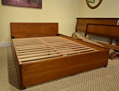 SOLD!! FANTASTIC MID-CENTURY MODERN TEAK DOUBLE BED...$399.00