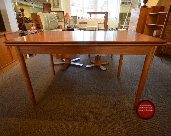 SOLD!! GREAT MID-CENTURY MODERN TEAK DRAW LEAF TABLE...$599.00!!