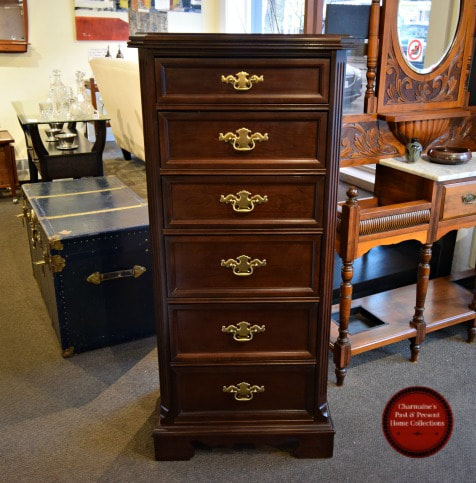 HANDSOME TALL NARROW MAHOGANY CHEST OF DRAWERS...$449.00