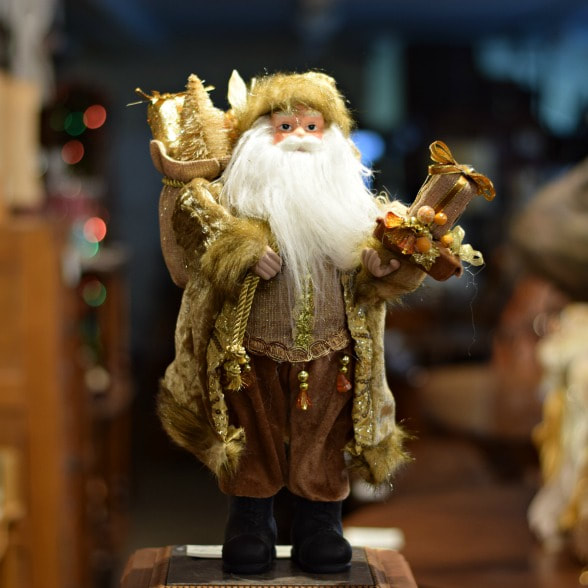 "HANDSOME 16"" GOLD SANTA...$40.00"