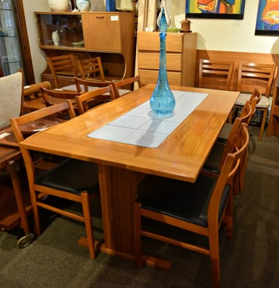 AWESOME DANISH MODERN TEAK TILE TOP TABLE...$399.00