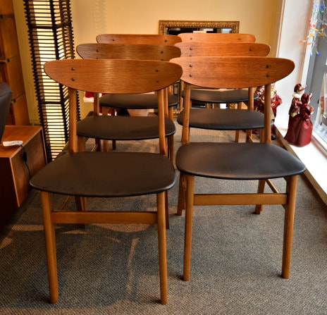 SOLD!! GREAT SET OF 6 MID-CENTURY MODERN TEAK CHAIRS...799.00