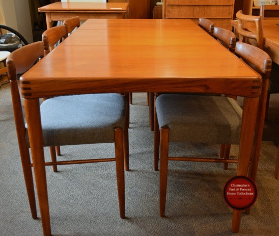 SOLD!! RARE DANISH MODERN TEAK TABLE & 6 CHAIRS BY H.W.KLEIN FOR BRAMIN...$3000.00