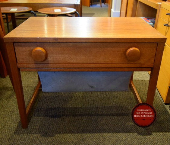 AWESOME MID-CENTURY MODERN TEAK SEWING TABLE WITH ORIGINAL BAG...$349.00!