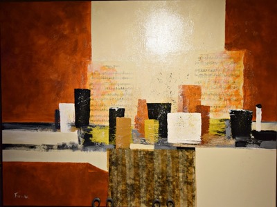 "STUNNING ORIGINAL MIXED MEDIA ART BY GRAHAM FORSYTHE TITLED ""INTERLUDE SERIES ABSRTACT VI""...$1400.00"