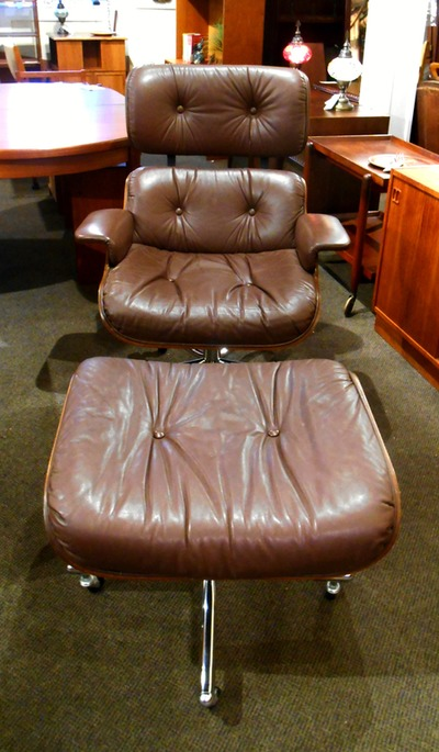 HANDSOME MID-CENTURY MODERN EAMES STYLE CHAIR AND OTTOMAN...$749.00