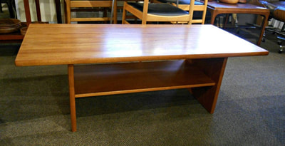 HANDSOME MID-CENTURY MODERN TEAK COFFEE TABLE WITH SHELF...$449.00