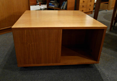 GREAT DANISH MODERN TEAK COFFEE TABLE WITH 4 CUBBIES...$349.00
