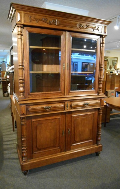 AWESOME ANTIQUE OAK GLASS DOOR CABINET...$699.00