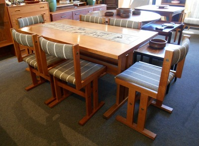 SOLD!! AWESOME TEAK AND TILE TABLE WITH 2 LEAVES AND 6 TEAK CHAIRS...$899.00