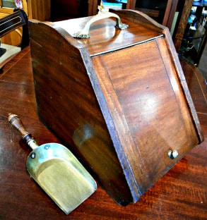 UNIQUE ANTIQUE MAHOGANY COAL SCUTTLE WITH SCOOP...$149.00