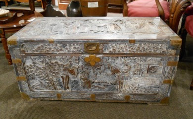 LOVELY VINTAGE WHITEWASHED CHINESE CAMPHOR CHEST...$349.00