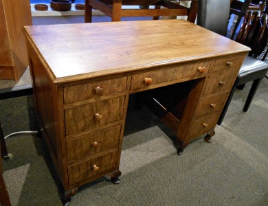 SOLD!! GORGEOUS VINTAGE WALNUT DOUBLE PEDESTAL DESK...$349.00
