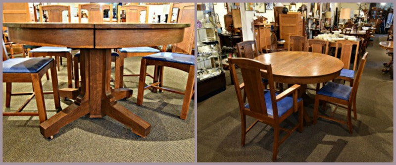 SOLD!! HANDSOME ANTIQUE OAK PEDESTAL TABLE WITH 4 LEAVES & 6 CHAIRS...$849.00 *Set has some flaws*